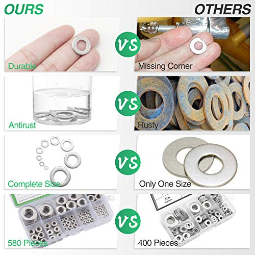 304 Stainless Steel Flat Washers Set 580 Pieces, 9 Sizes - M2 M2.5 M3 M4 M5 M6 M8 M10 M12 Suitable for Home Decoration, Factories Repair, Kitchens, Shops and Outdoor Construction