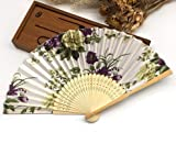 Colorful Japanese Chinese Handmade Pocket Fan Plum Blossom Flower Print Folding Hand Fans Matrimonio