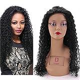 Sunwell Brazilian Virgin Human Hair Kinky Curly Lace Front Wig- Glueless Cap Natural Black 130% Density 12