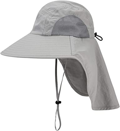 UPF Sun-Hat with Neck Flap Chin-Strap Adjustable Baby Toddler Kids Wide Brim 50