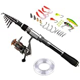 PLUSINNO Fishing Rod Reel Combos Carbon fiber Telescopic Fishing Pole with Spinning Reel Line Lures Accessories Combo Sea Saltwater Freshwater Fishing Rod Kit ...