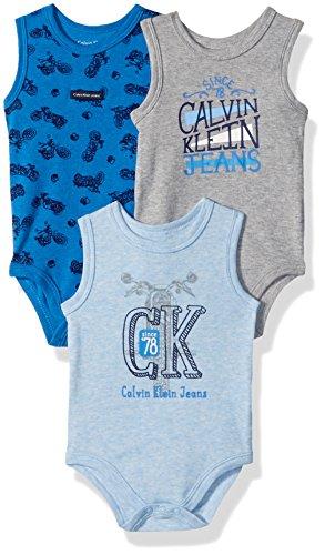 Calvin Klein Baby Boys 3 Pack Bodysuits, Blue/Gray, 3-6 Months by Calvin Klein