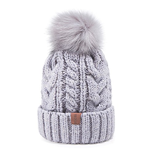 REDESS Women Winter Pom Pom Beanie Hat with Warm Fleece Lined, Thick Slouchy Snow Knit Skull Ski Cap (Grey)