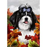 Cheap Best of Breed Fall Leaves Garden Size Flag Black and White Shih Tzu