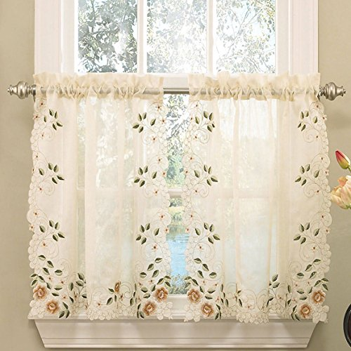 Floral Embroidered Semi-sheer Linen Kitchen Curtain Choice Tier Valance or Swag (36 Cafe/ Tier Curtains)