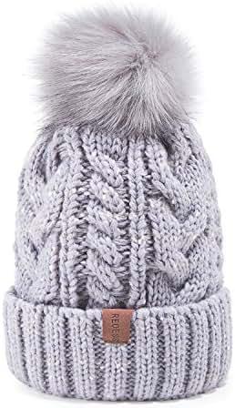 REDESS Women Winter Pom Pom Beanie Hat with Warm Fleece Lined, Thick Slouchy Snow Knit Skull Ski Cap