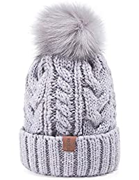 Women Winter Pom Pom Beanie Hat with Warm Fleece Lined, Thick Slouchy Snow Knit Skull Ski Cap