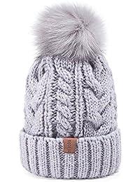 940086d75db Women Winter Pom Pom Beanie Hat with Warm Fleece Lined