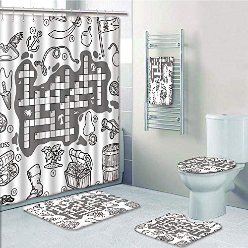 Bathroom Fashion 5 Piece Set shower curtain 3d print,Word Search Puzzle,Colorless Pirates Themed Educational Puzzle Treasure Map and Icons,Grey Black White,Bath Mat,Bathroom Carpet Rug,Non-Slip,Bath T -