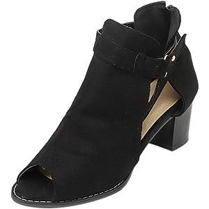6ada66b8d7c Red Ta Womens Fish Mouth High Heel Zipper Sandals Leather Short ...