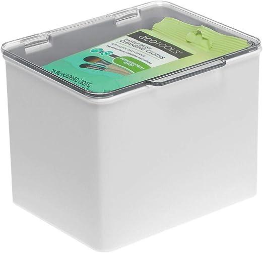 mDesign Caja organizadora de plástico – Cajas apilables con tapa ...