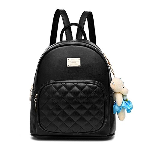 Women Fashion Cute Leather Laides Shopping Bag Casual Backpack Travle Backpack for Girls Black by H&N