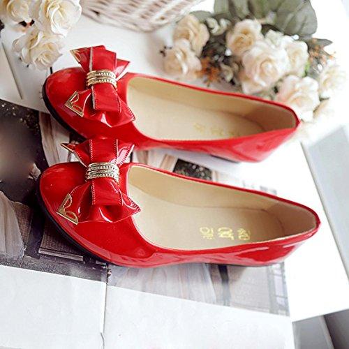 Sur Plat Chaussures Rouge ® Travail Lady Bowknot De Occasionnel Femmes Transer Mode Les Cuir En Slip wXTP4zT