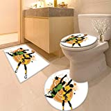 3 Piece Extended Bath mat Set and Ground Sports Image of Two Basketball Players inA Heated Game Rings Stars in The Orange Increase