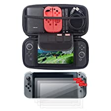Insten [3-Pack] Nintendo Switch Clear Screen Protector + Travel Carrying Case [Full Protection] with 4 Card Slots Protective EVA Hard Shell Case For Nintendo Switch Console [2017 New Release], Black