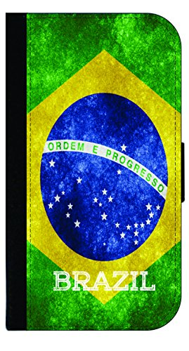 Brazil Grunge Flag - Wallet Style Flip Phone Case Compatible with s3/s4/s5/s6/s6edge/s7/s7edge/s8/s8Plus - Select Your Compatible Phone Model ()
