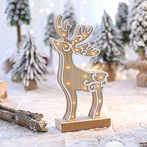 NEARTIME LED Light Cute Christmas Elk Ornaments Window Holiday Decoration Adornment (Free Size, A)