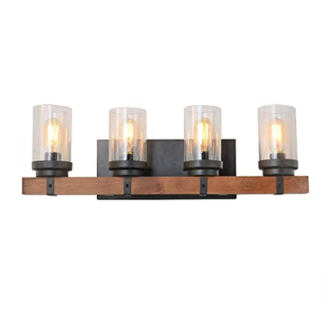 Anmytek Metal Wall Sconce Lighting with Bubble Glass Shade Oil Black ...