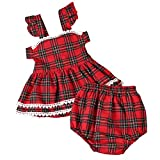 Brightup Baby Plaid Clothes Set Girl Red Lattice Dress + Bloomer, Little Girl Summer Dress + Panties PP Pants