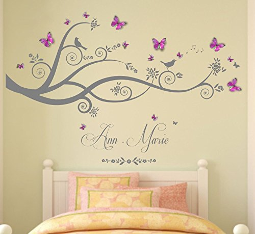 - Personalized name, tree, branches, with Hot Pink/Sky Blue Personalised 3D butterflies, Vinyl Wall Art Sticker, Mural, Decal. Home, Wall Decor, Bedroom, Nursery. ANY name personalized