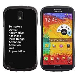 Paccase / Suave TPU GEL Caso Carcasa de Protección Funda para - happy attention woman inspiring love - Samsung Note 3 N9000 N9002 N9005