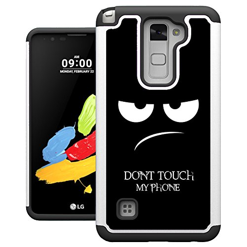 LG Stylo 2 Case, UrSpeedtekLive [Shock Absorption] Dual Layer Heavy Duty Protective Silicone Plastic Cover Case for LG Stylo 2/LG Stylus 2 - Don't Touch - Touch 2 Stylus