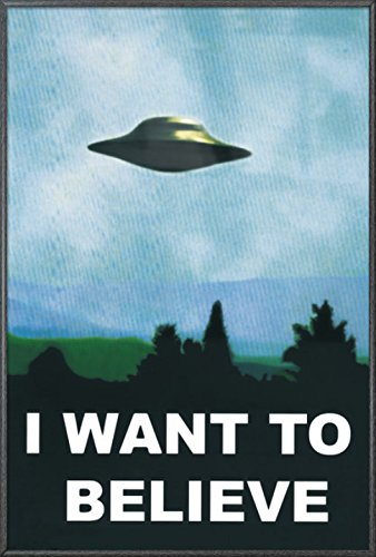 Believe Framed Print - I Want To Believe - Framed TV Show Poster / Print (UFO / X-Files) (Size: 24