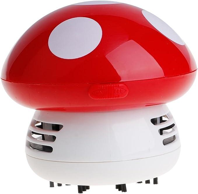 Vanker - Mini seta aspiradora, vacío, escobillas de limpieza de mesa, color rojo: Amazon.es: Hogar