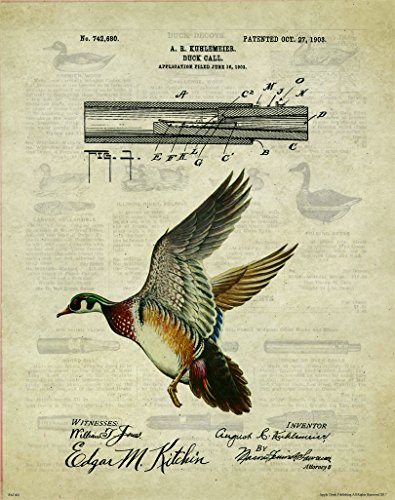 Duck Goose Call Hunting Decoy Patent Poster Art Print Reproduction 11x14 Black Yellow Lab Labadore Call Wall Decor Pictures (Dynasty Duck Pictures)