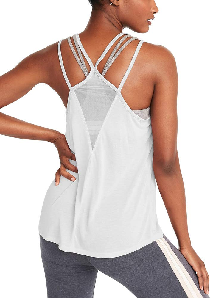 d11a23e141 Mippo Women's Activewear Mesh Workout Clothes Cool Backless Beach Shirts  Yoga Spaghetti Strap Tank Tops Summer Sleeveless Flowy Loose Fit Strappy  Shirt ...