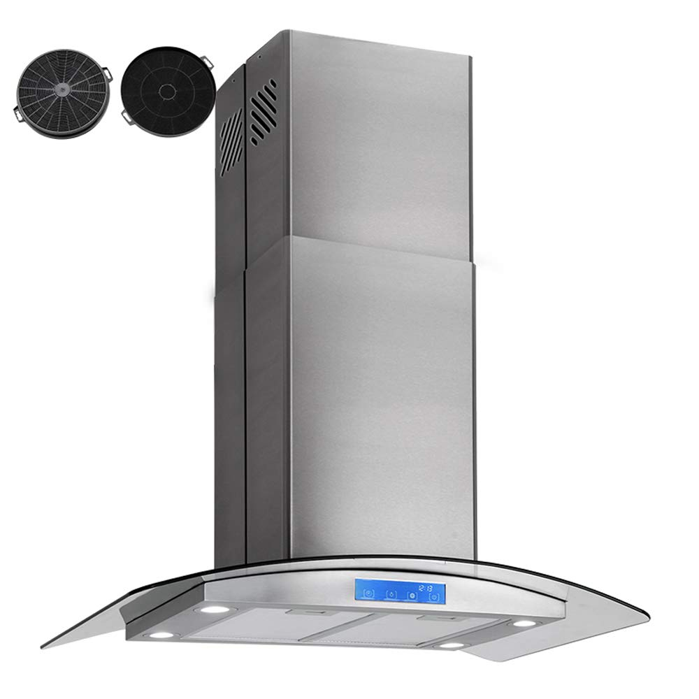 30' Island Mount Range Hood Tempered Glass & Stainless Steel 500CFM Kitchen Stove Fan Vent Touch Control BHI