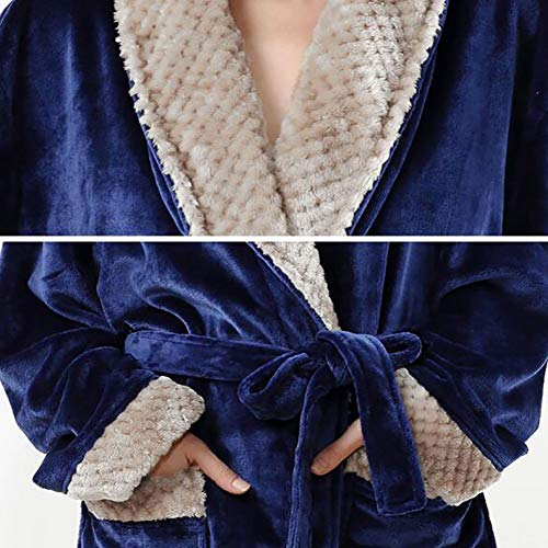 Pijama Bata Albornoz De Engrosamiento Unisex 1pcs Navy Franela waarxEq