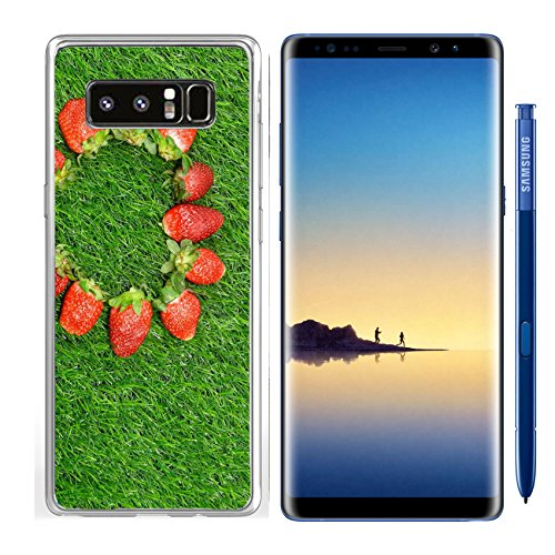 Luxlady Samsung Galaxy Note8 Clear case Soft TPU Rubber Silicone IMAGE ID: 24373363 Heart shaped Strawberry frame on green grass