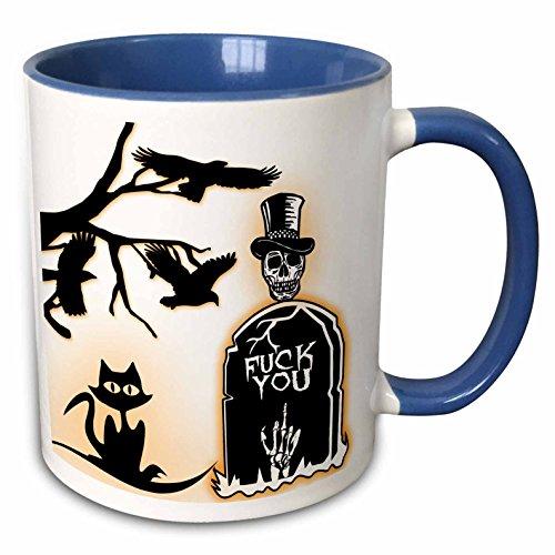 3dRose RinaPiro - Halloween Quotes - Fuck you. Halloween. R.I.P. Sugar skull. - 15oz Two-Tone Blue Mug (mug_221544_11) -