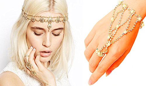 Hair and Hand Jewelry Antique Rhinestone Crystal Gold-tone Fashion Prom Indian Bridal Wedding Gypsy Festival Rings Boho Bands Hair Accessories Headbands set for Women and Girl (2pc Head & Handchain)