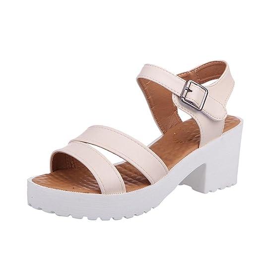 418a74e52b4 DENER Women Ladies Summer Wedge Platform Chunky Heel Sandals, Ankle ...