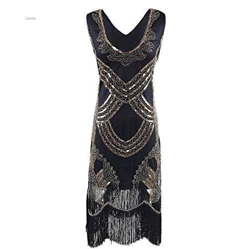 COSYOU 1920s Style Sequin Sleeveless Mesh Keyhole Fringe Flapper (XL, Black 3)