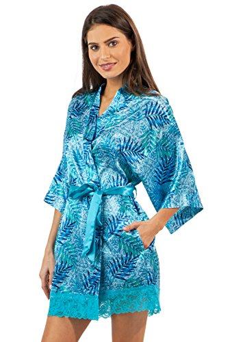 Ashford & Brooks Women's Printed Satin Short Kimono Robe - Aztec Palm - (Aztec Printed Shorts)