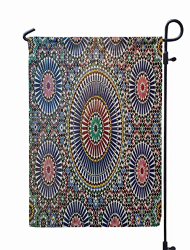 (GROOTEY Welcome Outdoor Garden Flag Home Yard Decorative 12X18 Inches Close Up Tile amp Extremely Detailed Best viewed Full Size Stonework Double Sided Seasonal Garden Flags )