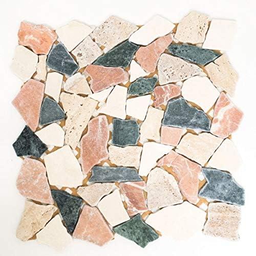 Mosaik Fliese Marmor Naturstein creme beige rot gr/ün Bruch Ciot Random MOS44-1204/_m
