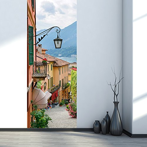 YJZ 3D Door Sticker Small Town Street Wallpaper Removable Waterproof Vinyl Self-Adhesive Murals Wall Sticke For Door Renovation Living Bedroom Home Deco