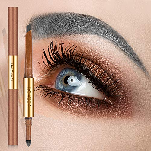 Mesaidu 3-in-1 Eye Makeup Eyebrow Pencil, Blender, Brush All In One (Ash Grey) (Makeup For Grey Hair And Brown Eyes)