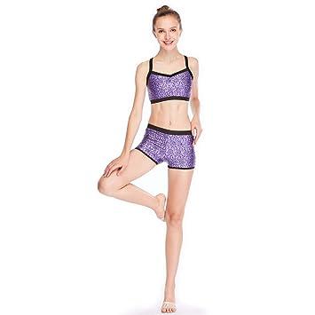 261d7b98a7 MiDee Sequins Costume Crop Tops   Shorts Hip Hop Pole Dance Outfits  Gymastics Acrobatics Competition Performance