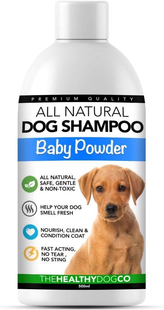Champú para perro completamente natural olor a polvos de talco para bebé | 500ml | Champú perfumado para acicalar a su perro | El mejor champú para mascotas para un lavado sano, seguro y sin picazón