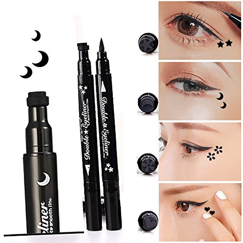 Pinkiou 1x Eye Makeup Stamp Eyeliner Pencil Set Waterproof Double Head with Body Face Painting Stamp (Moon)