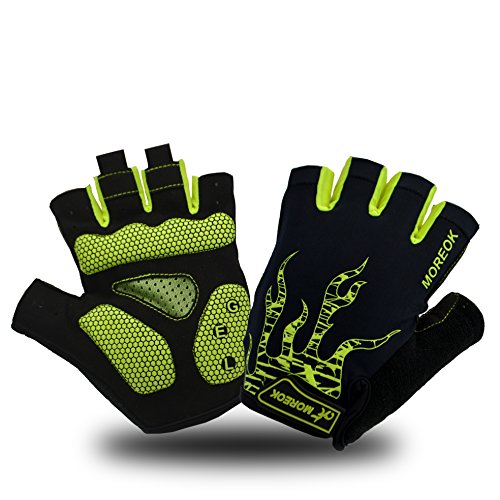 MOREOK Shock-Absorbing Breathable Anti Slip Cycling Gloves Half Finger Bike Bicycle Gloves Gel Padded Mountain Bike Road Bike Riding Gloves for Men and Women (Green, - Mens Glove Bike