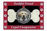 Pet Remembrance - Dog Photo Ornament - Dog Bone Design with Faithful Friend Loyal Companion Embossed Around Picture - Dog Memorial Ornament - Pet Memorial Ornament