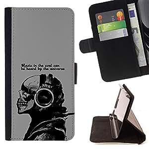 BullDog Case - FOR/LG G2 D800 / - / Cool Music In The Soul Message /- Monedero de cuero de la PU Llevar cubierta de la caja con el ID Credit Card Slots Flip funda de cuer