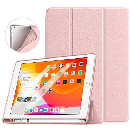 "TiMOVO Case for New iPad 7th Generation 10.2"" 2019 with Apple Pencil Holder, [Light Weight] Slim Back Protective Case with Auto Wake/Sleep, Smart Case Fit iPad 10.2-inch Retina Display - Rose Gold"