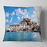 Designart CU7225-18-18 Panorama of Ibiza Spain' Cityscape Photo Throw Cushion Pillow Cover for Living Room, Sofa, 18 in. x 18 in, Pillow Insert + Cushion Cover Printed on Both Side